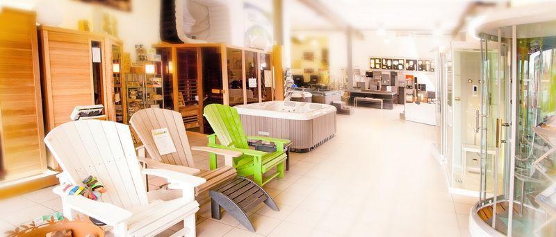 Showroom Aqua Détente Luxembourg, meuble extérieur, spa, douche, jacuzzi